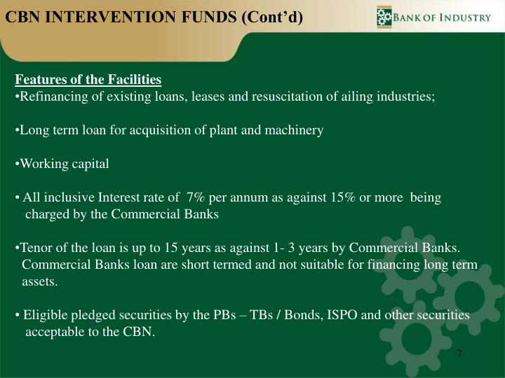CBN INTERVENTION FUNDS (Cont'd)