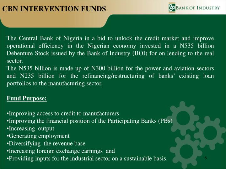 CBN INTERVENTION FUNDS