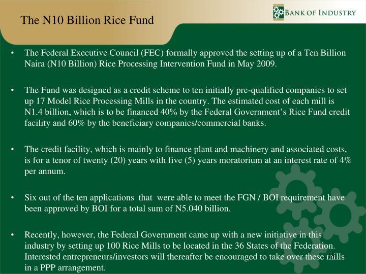 The N10 Billion Rice Fund