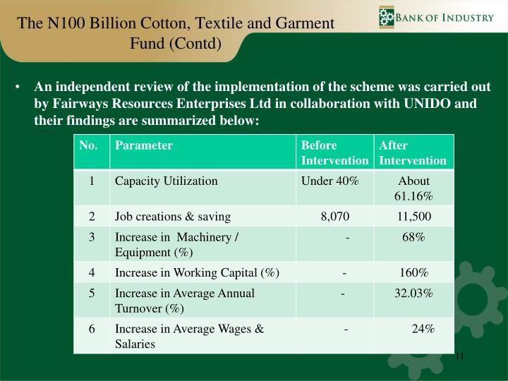 The N100 Billion Cotton, Textile and Garment Fund (Contd)