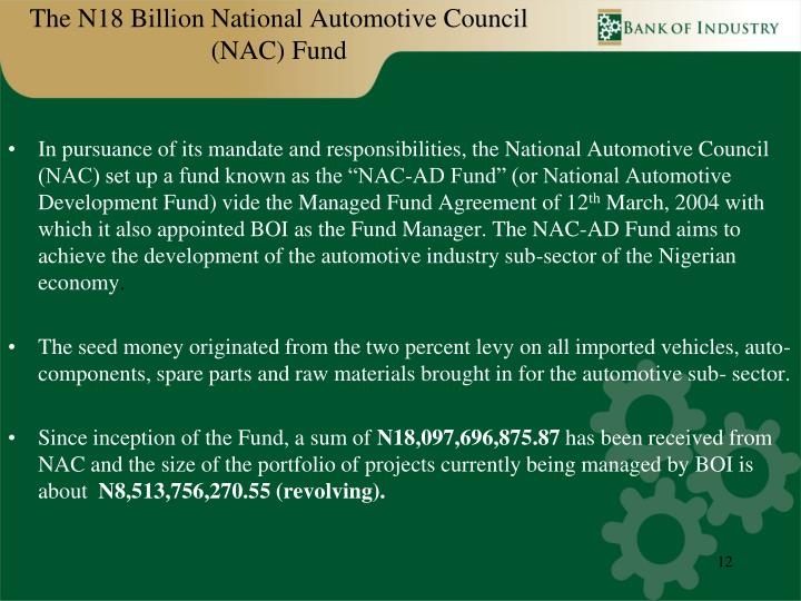 The N18 Billion National Automotive Council (NAC) Fund