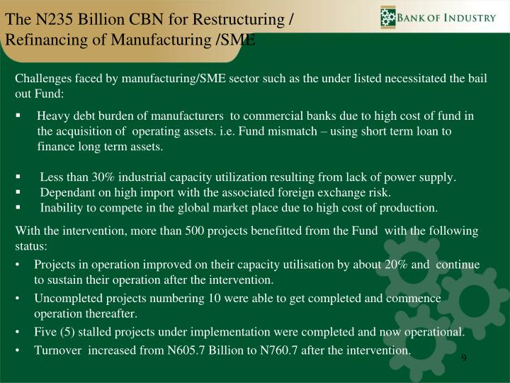 The N235 Billion CBN for Restructuring / Refinancing of Manufacturing /SME