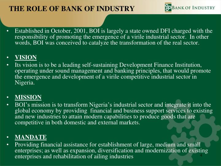 THE ROLE OF BANK OF INDUSTRY