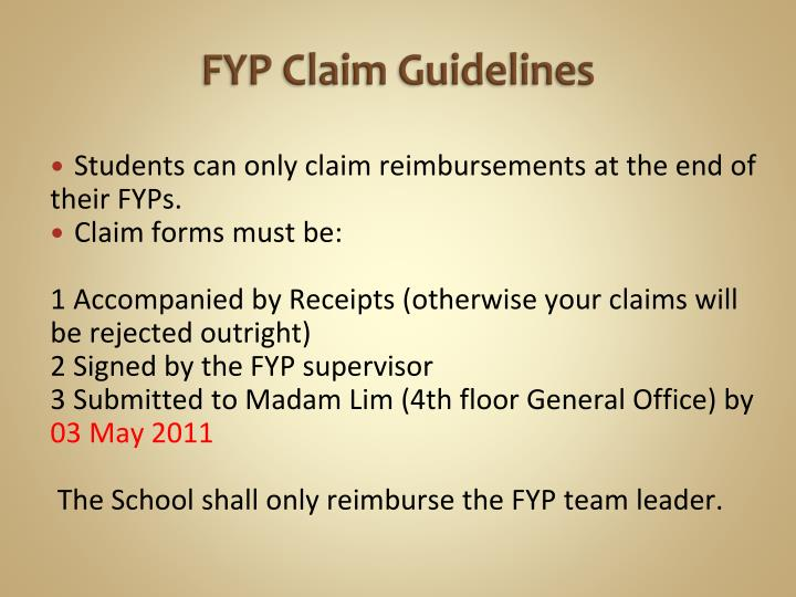 FYP Claim Guidelines