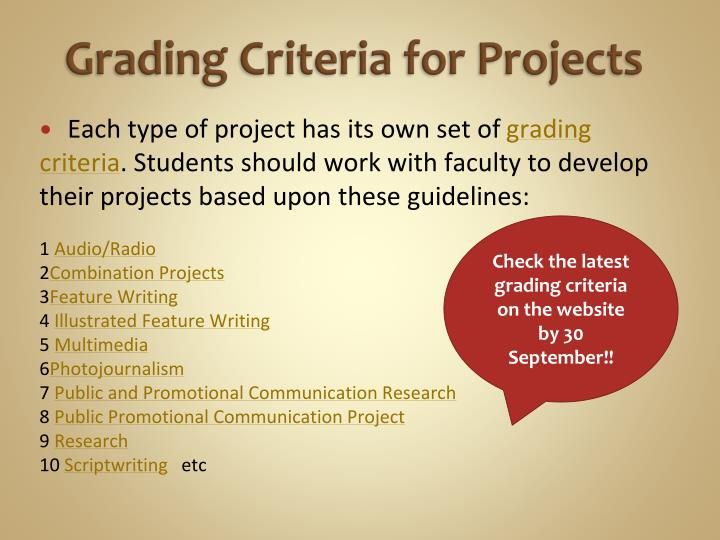 Grading Criteria for Projects