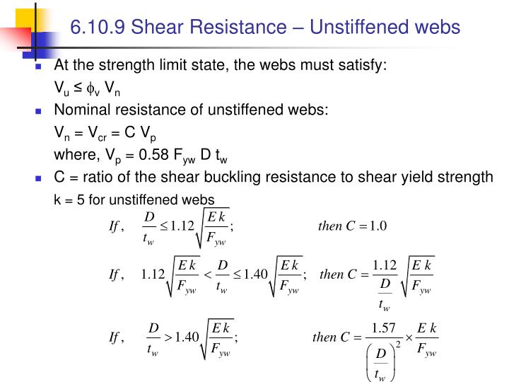 6.10.9 Shear Resistance – Unstiffened webs