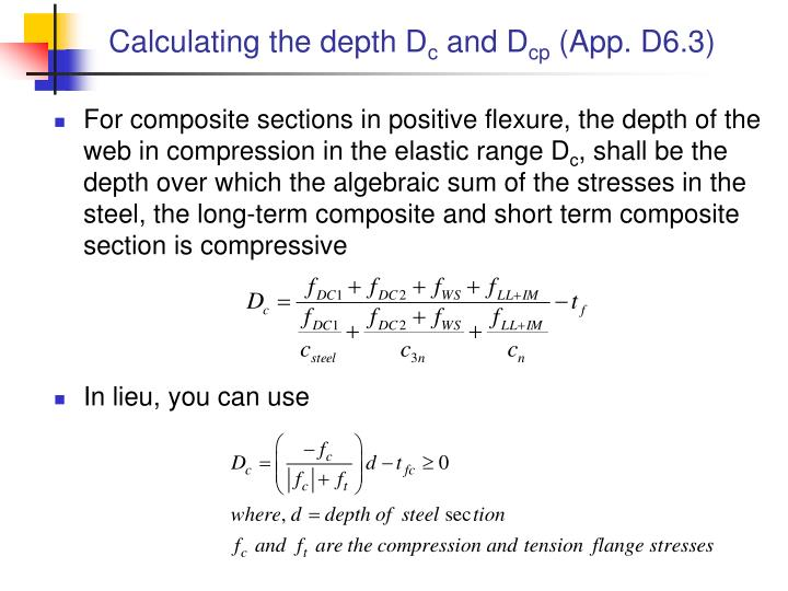Calculating the depth D