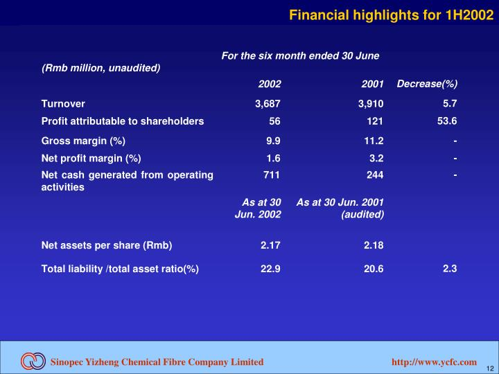 Financial highlights for 1H2002