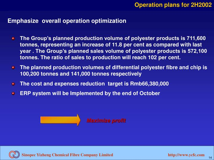 Operation plans for 2H2002