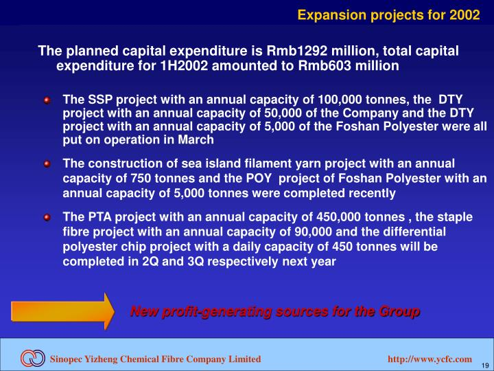 Expansion projects for 2002