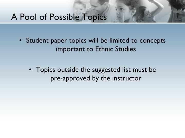 A Pool of Possible Topics