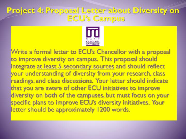 Project 4: Proposal Letter about Diversity on ECU's Campus