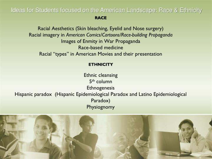 Ideas for Students focused on the American Landscape: Race & Ethnicity