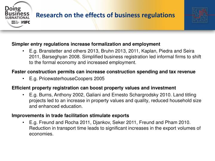 Research on the effects of business regulations