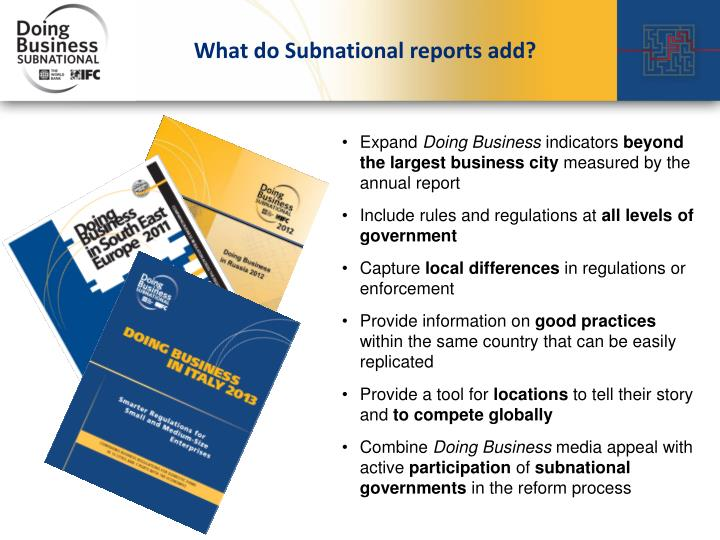 What do Subnational reports add