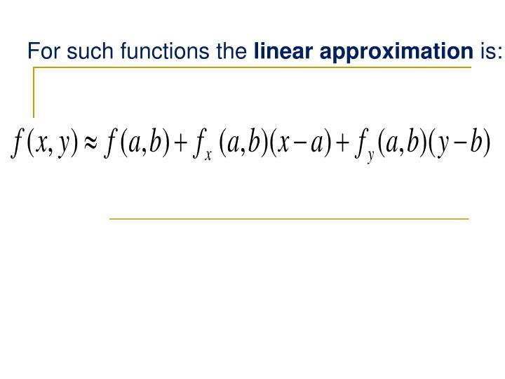 For such functions the