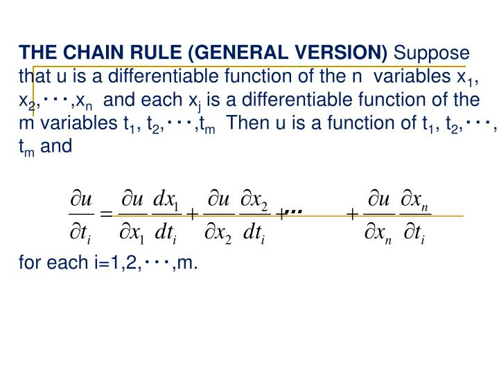THE CHAIN RULE (GENERAL VERSION)