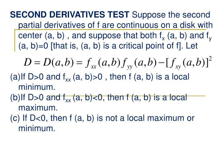 SECOND DERIVATIVES TEST