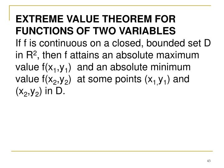 EXTREME VALUE THEOREM FOR FUNCTIONS OF TWO VARIABLES