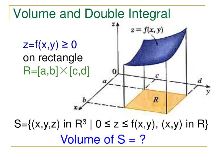 Volume and Double Integral