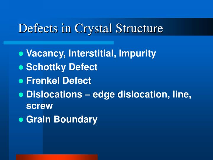 Defects in Crystal Structure