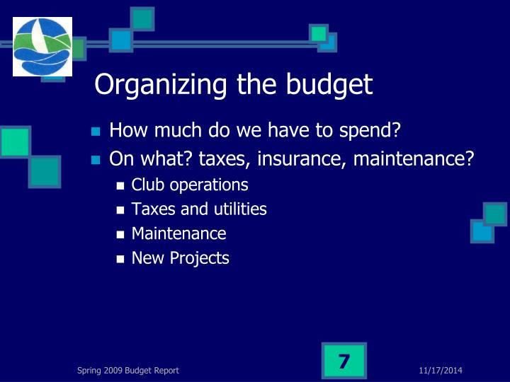 Organizing the budget