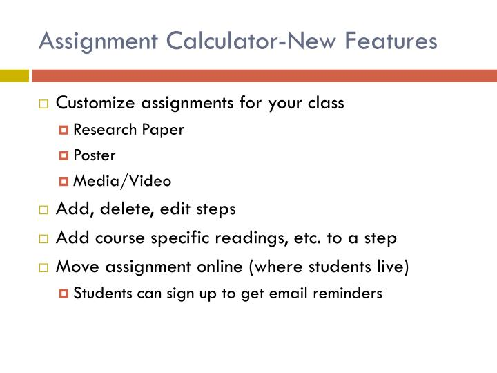 Assignment Calculator-New Features