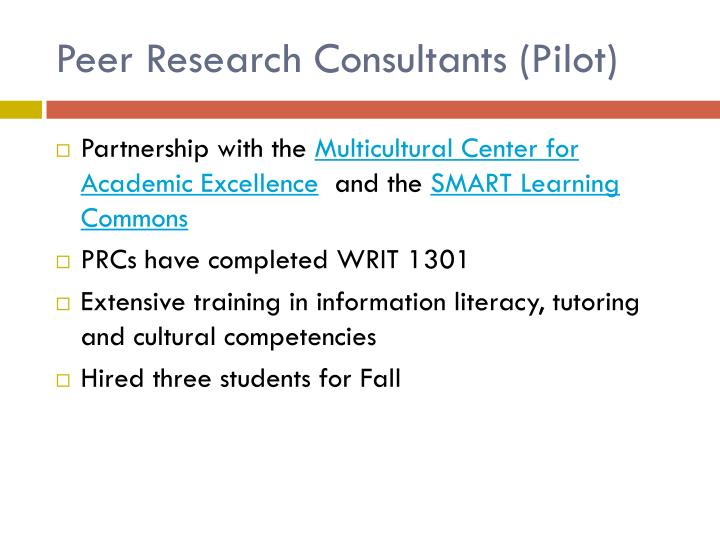 Peer Research Consultants (Pilot)