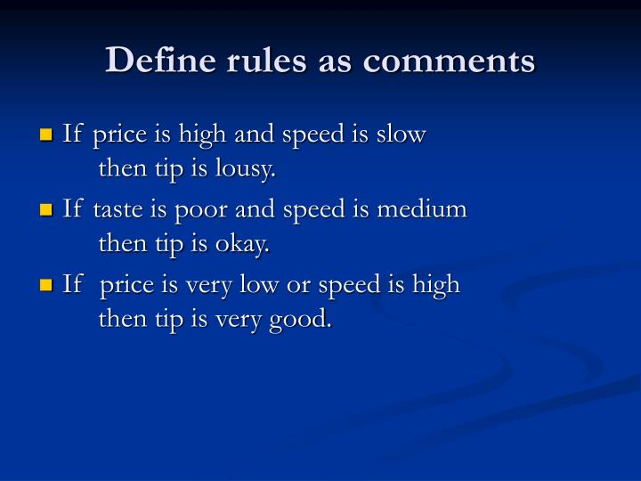 Define rules as comments