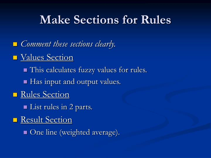 Make Sections for Rules