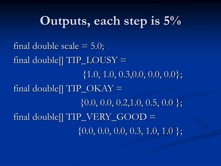 Outputs, each step is 5%