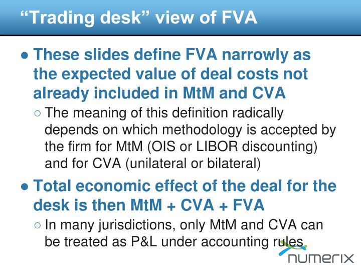 """Trading desk"" view of FVA"