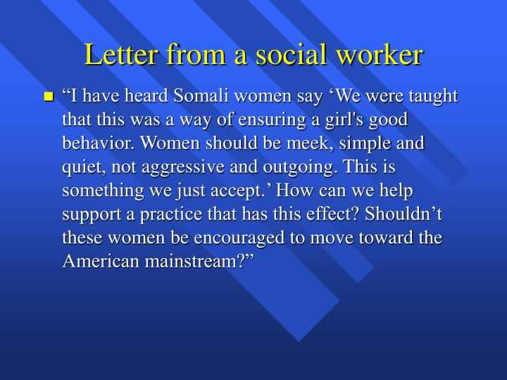 Letter from a social worker