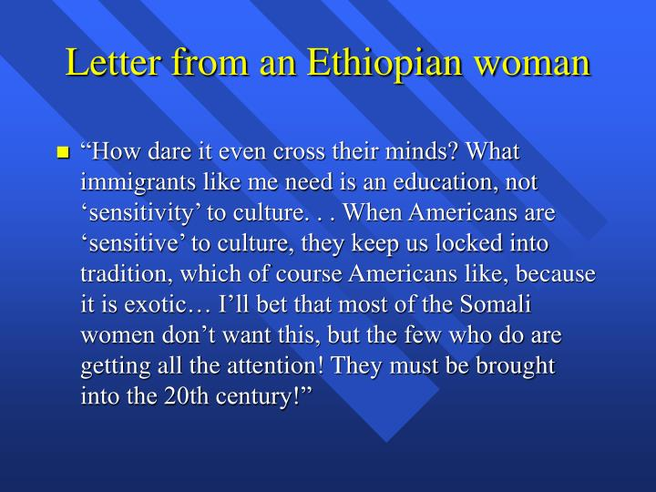 Letter from an Ethiopian woman