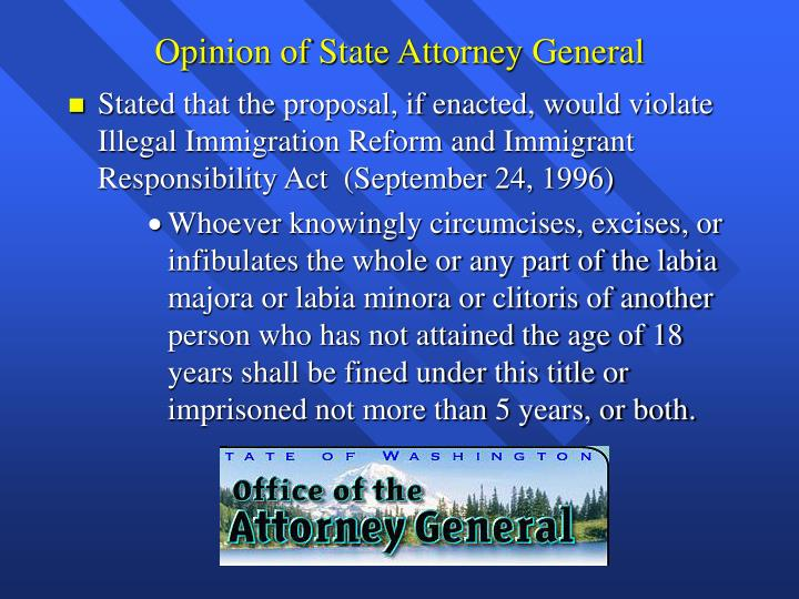 Opinion of State Attorney General