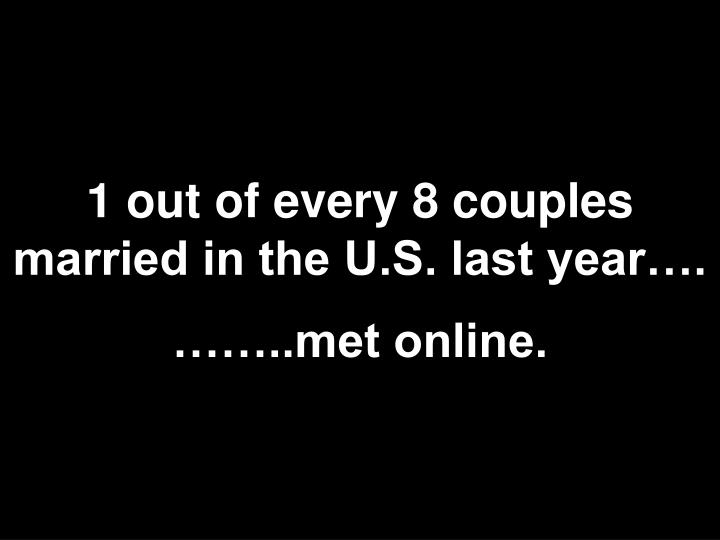 1 out of every 8 couples married in the U.S. last year….