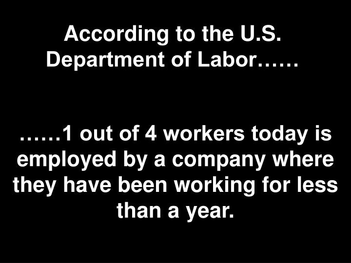 According to the U.S. Department of Labor……