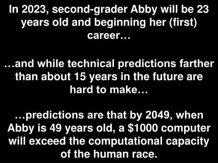 In 2023, second-grader Abby will be 23 years old and beginning her (first) career…
