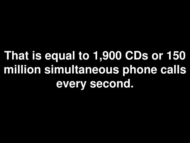 That is equal to 1,900 CDs or 150 million simultaneous phone calls every second.
