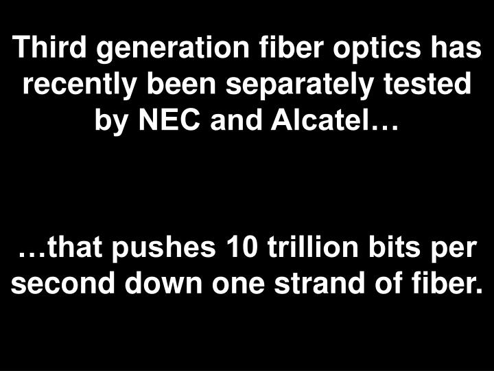 Third generation fiber optics has recently been separately tested by NEC and Alcatel…