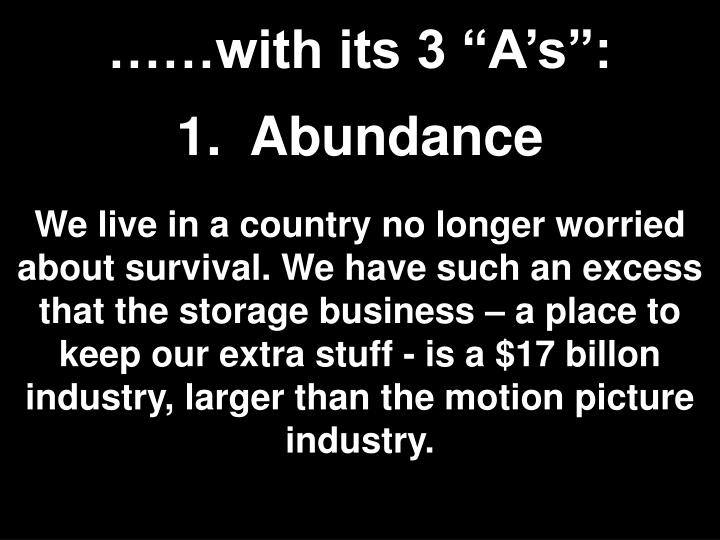 """……with its 3 """"A's"""":"""