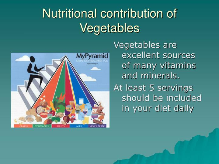Vegetables are excellent sources of many vitamins and minerals.