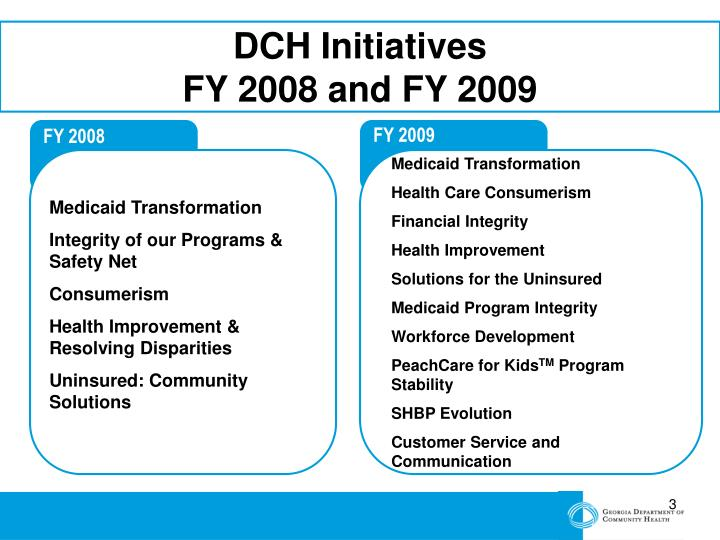 Dch initiatives fy 2008 and fy 2009