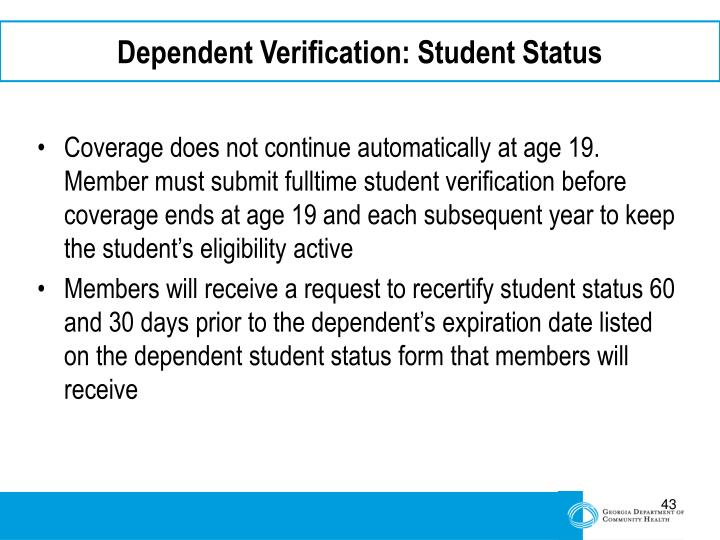 Dependent Verification: Student Status