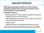 dependent verification
