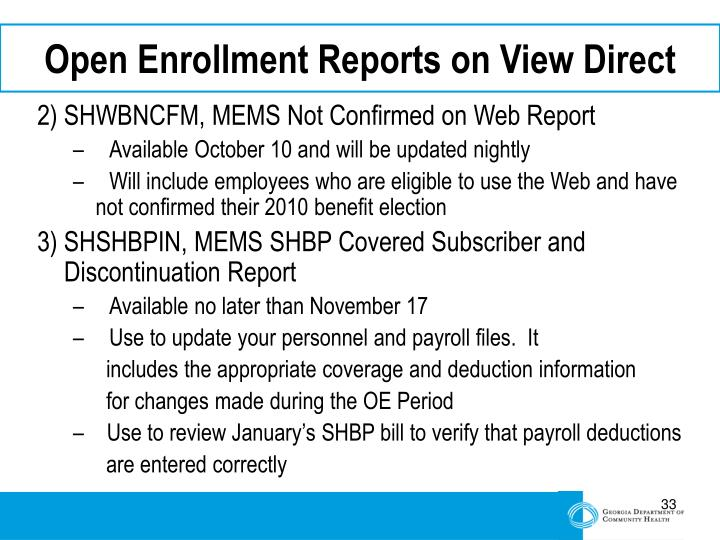 Open Enrollment Reports on View Direct