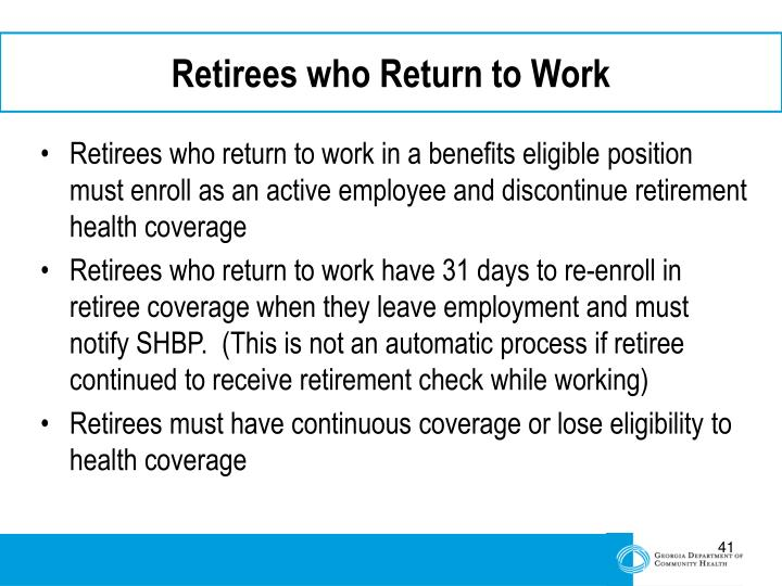 Retirees who Return to Work