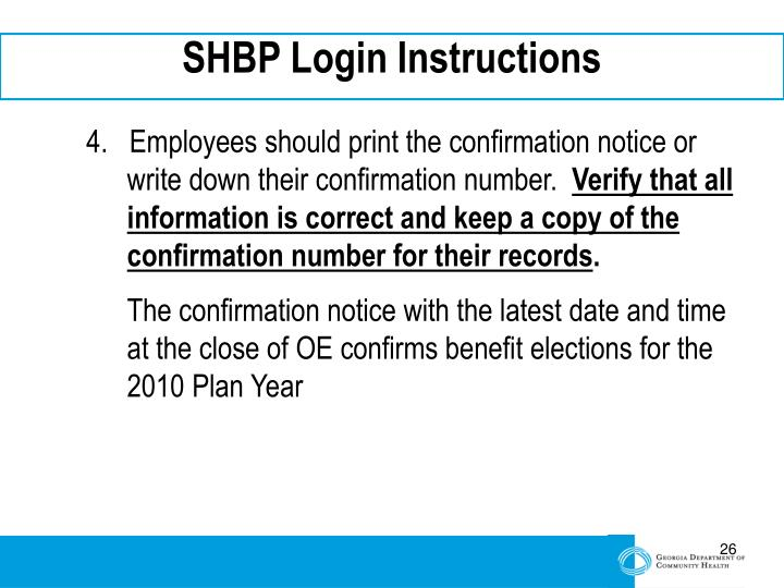 SHBP Login Instructions