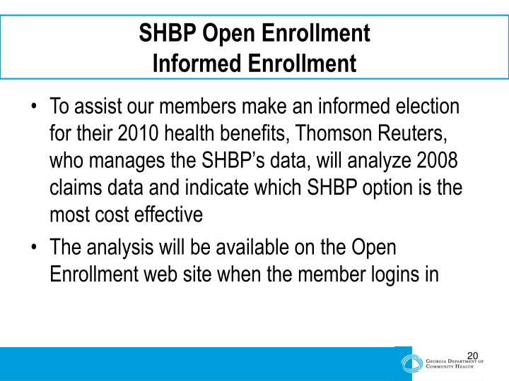 SHBP Open Enrollment
