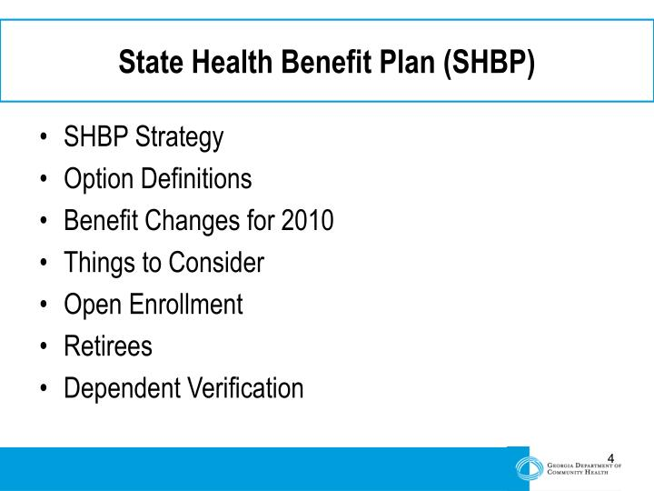 State Health Benefit Plan (SHBP)